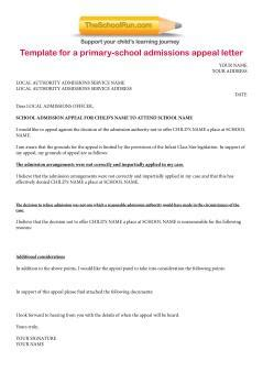 template letter  school appeals school appeals
