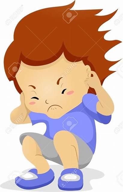 Noisy Clipart Ears Kid Covering Boy Illustration