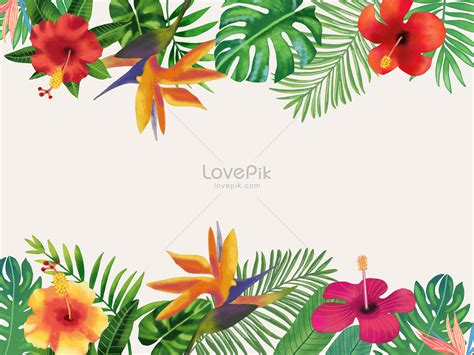 floriculture background  watercolor tropical leaves