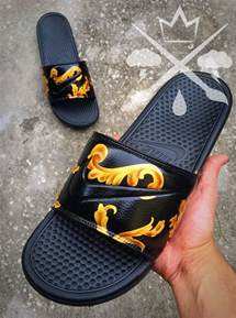 Nike Custom Black Supreme Benassi Swoosh Slide Sandals Flip flops Men's