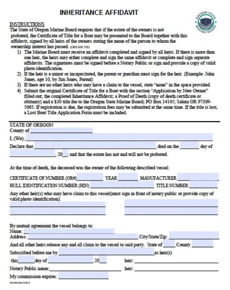 Free Boats Oregon by Free Oregon Boat Inheritance Affidavit Form Pdf Word