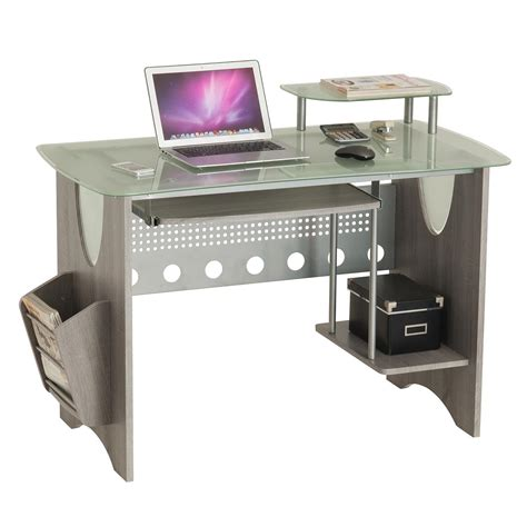glass desk with storage techni mobili stylish frosted glass top computer desk with