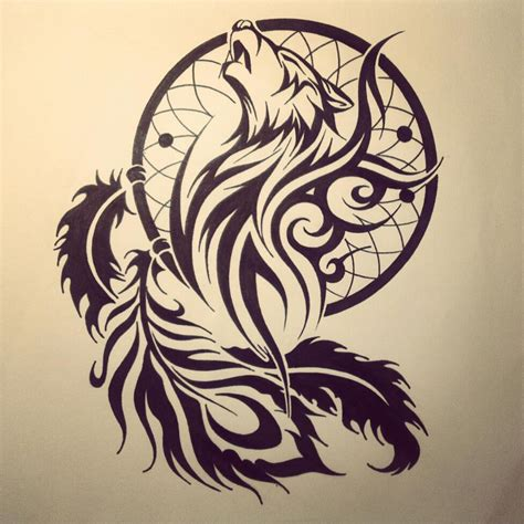 Dream Catcher Tribal Wolf Head Tattoo Stencil Idea