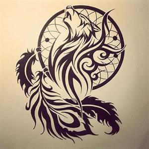 Tribal Wolf Tattoo : dream catcher tribal wolf head tattoo stencil idea ~ Frokenaadalensverden.com Haus und Dekorationen