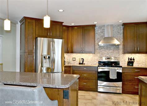 Oak kitchen remodel. Wood cabinets, quartz countertops and