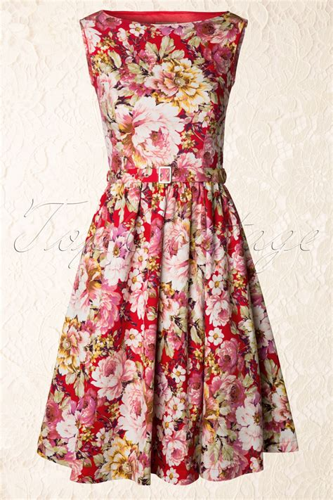 audrey floral semi swing dress  red  white