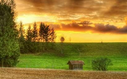 Harvest Wallpapers Desktop Season Sunset Houses Wooden