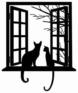 Cat looking through Window Silhouette - Contemporary