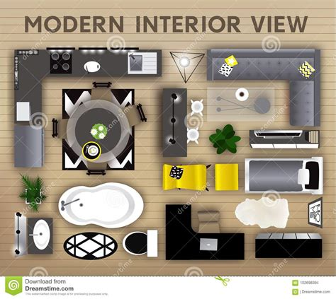 interior top view icons set realistic interior furniture