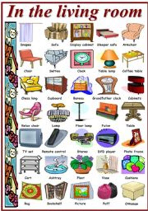 Living Room Vocabulary With Pictures by Living Room Worksheets