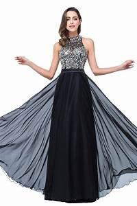 Halter Black Chiffon 2017 Prom Dresses Sparkly Crystals ...
