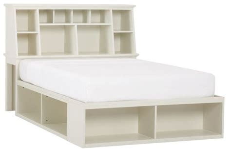 Wooden Full Platform Bed With Pure White Finish, And 2