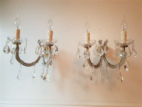 pair of italian 2 branch crystal marie therese wall lights