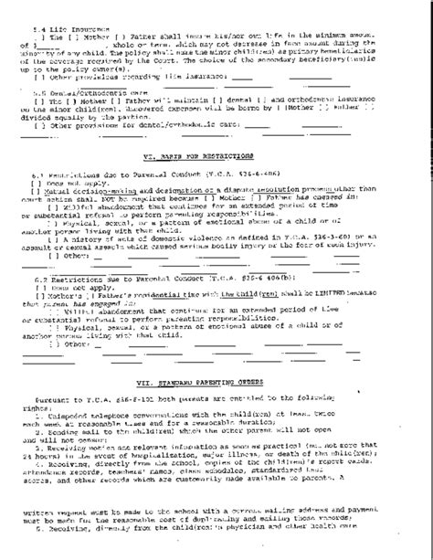 tennessee parenting plan form sle temporary parenting plan tennessee free download