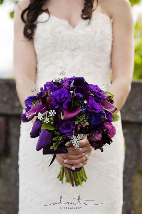 fall purple wedding flowers brides bouquet  purple
