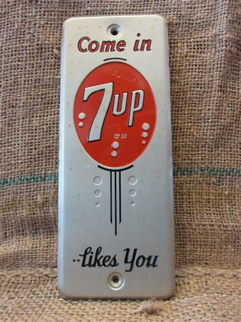 vintage 1950s metal 7up door push sign antique cola soda pop store 7830 ebay