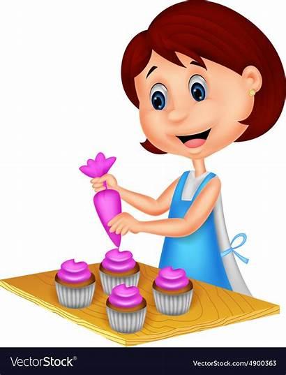 Cartoon Woman Decorating Cupcakes Vector Apron