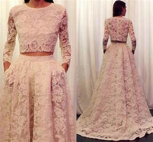 2016 lace wedding dresses long sleeve plus size wedding With plus size two piece wedding dress