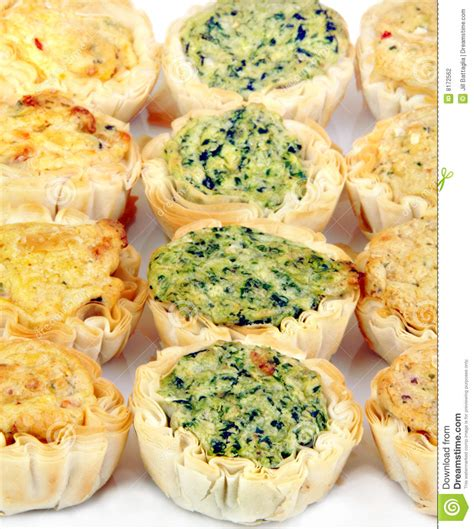 mini quiche appetizers  rows stock photography image