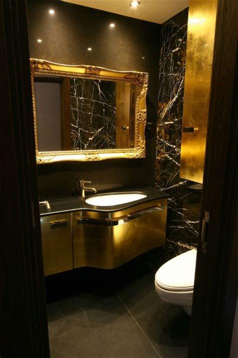 Black, Gold & Brown Bathroom  Modern  Powder Room