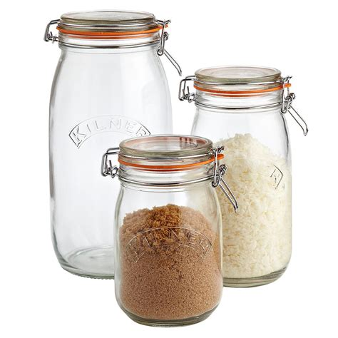 kitchen canister sets stainless steel set of kilner hermetic glass jars the container store