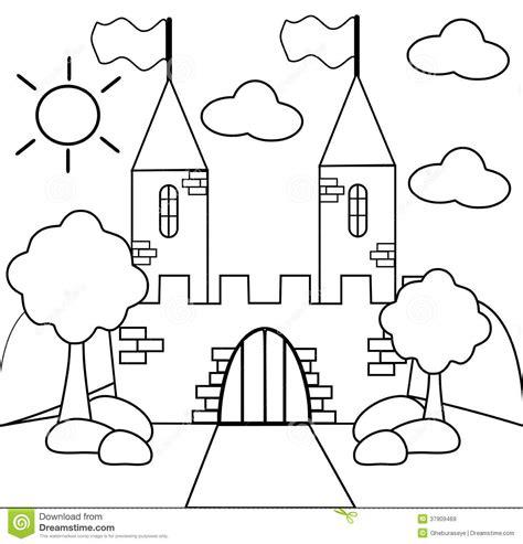 Kleurplaat Slot by Kleur Het Kasteel Stock Illustratie Illustratie Bestaande