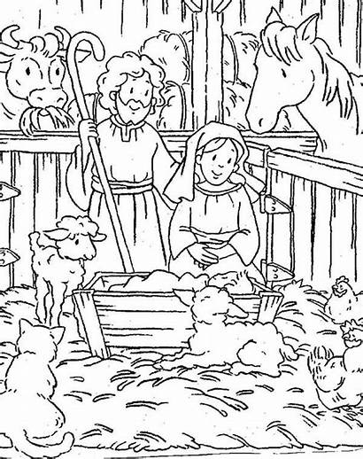 Jesus Coloring Born Christmas Pages Bible Stable