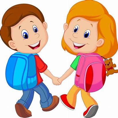 Clipart Child Cartoon Clip Backpack Friends Together