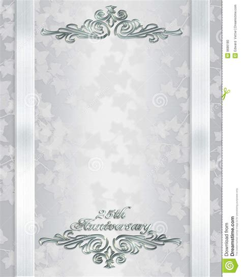 25TH Wedding Anniversary Invitation Stock Photo Image