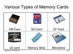 Types of Computer Memory Storage Cards