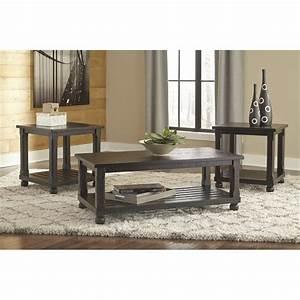 Ashley mallacar 3 piece coffee table set in black t145 13 for 3 piece coffee table set black