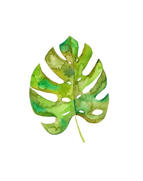 monstera leaf art print watercolor monstera botanical