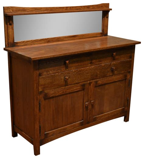 Craftsman Sideboard by Mission Solid Oak Sideboard Buffet With Back Mirror