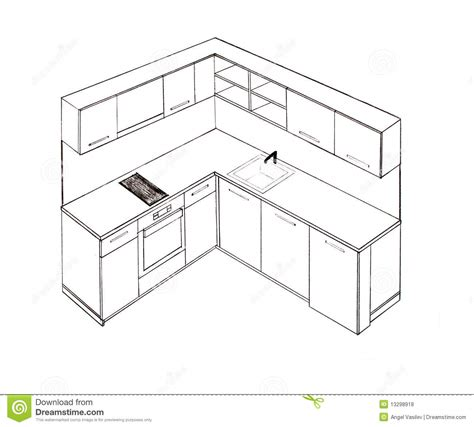 perspective cuisine dessin modern interior design kitchen freehand drawing stock