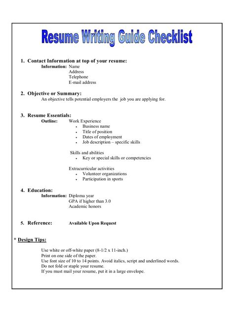 resume writting guide checklist pdf archive