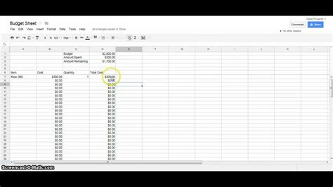 google docs tutorial budget spreadsheet youtube