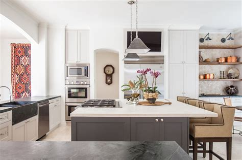 cooktop  island transitional kitchen marie
