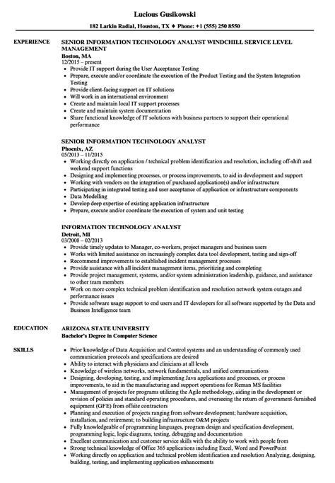 Information Technology Resume by Information Technology Analyst Resume Sles Velvet