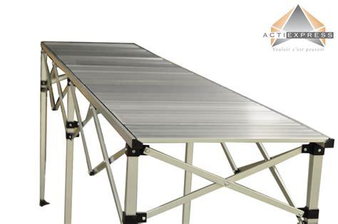 table de pliante alu table pliante hauteur rglable 2 85m x 58cm plateau aluminium pliable