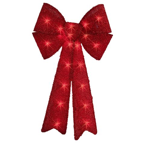 trim  home  red tinsel lighted bow   lights