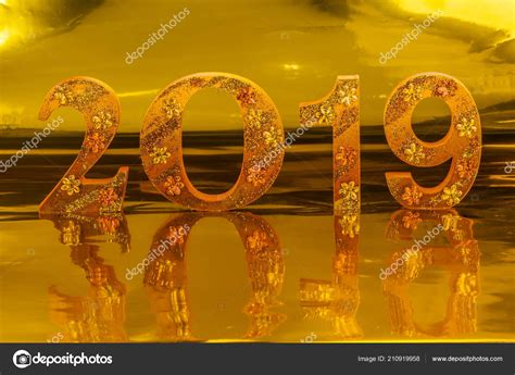 2019 Made Gold Color Place Golden Background Mean Golden