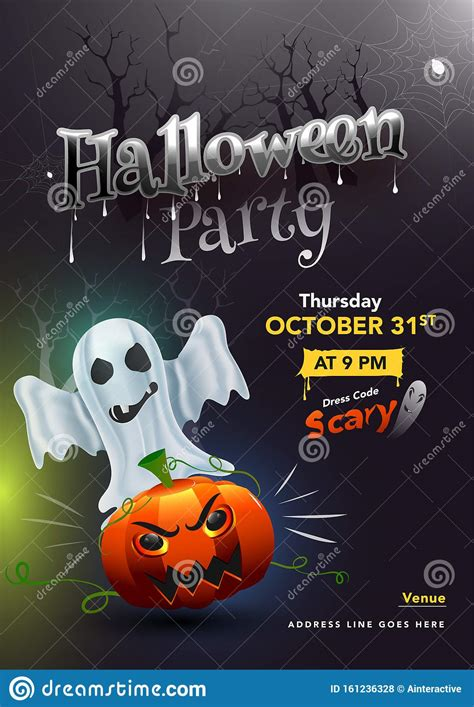 Halloween Party Template Or Invitation Card Design With