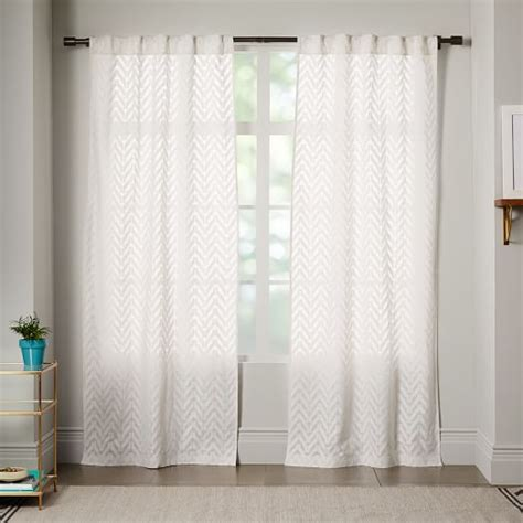 sheer chevron curtain white west elm