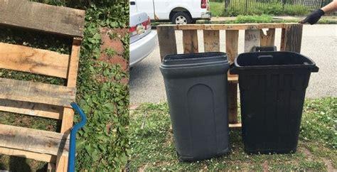 outdoor garbage storage outdoor garbage can storage from pallets hometalk 1292