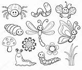 Bug Cartoon Coloring Line Vector Illustration Insect Bee Fly Dragonfly Butterfly sketch template