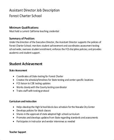 9 assistant director description samples sample 875 | School Assistant Director Job Description PDF