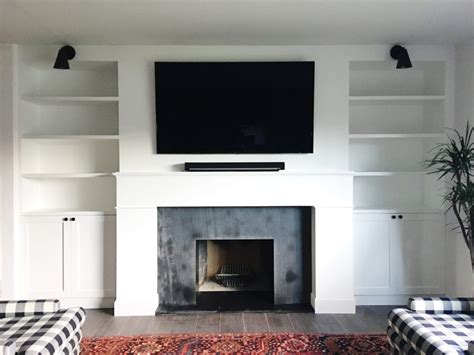 for tv over fireplace fireplace renovation the built in shelves the vintage
