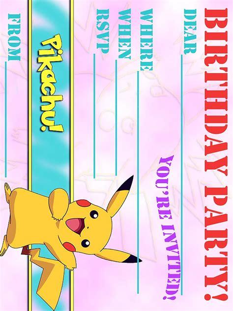 pokemon invitation birthday invitations templates
