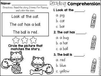 kindergarten reading comprehension  beginning readers