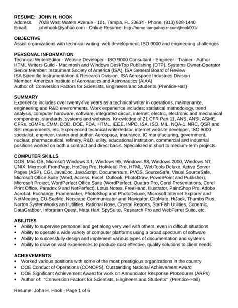 Field Service Resume by Chronological Field Service Engineer Resume Template